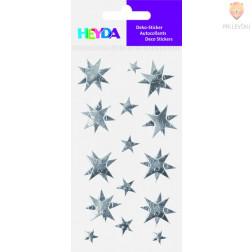 Nalepke za dekoracijo Srebrne zvezdice svetleče