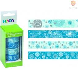 Set novoletnih dekorativnih lepilnih trakov Snežinke 15mmx5m 4 kos