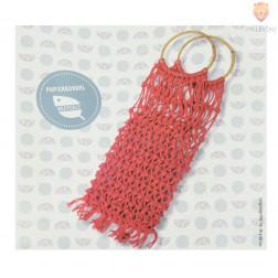 Mrežasta makrame torba - rdeča DIY set