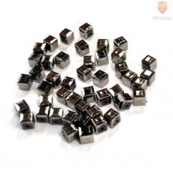 Perle plastične kovinski izgled kocke črne barve 10mm 40g