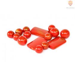 Perle akrilne mix 52, rdeči mix različnih oblik 50g