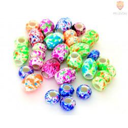 Akrilne perle - Fluo z veliko luknjo 40g