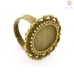 Ovalna osnova za prstan barva starega zlata 1 kos