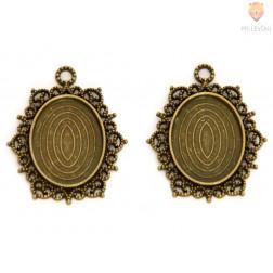 Medaljon barva starega zlata 18 x 25 mm, 2 kos