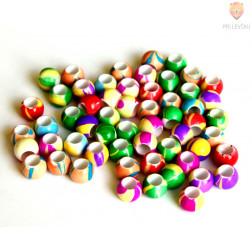 Akrilne perle marmorirane z veliko luknjo 30g