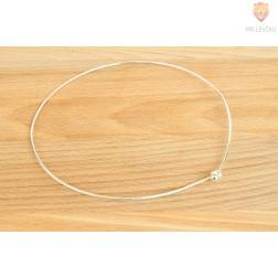 Osnova za ogrlico, z bunko, platinaste barve, 1 kos