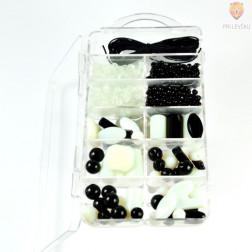 Set za izdelavo ogrlice - črno beli miks