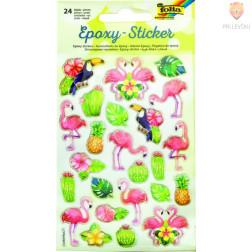 Epoksi nalepke Flamingi in kaktusi 24 kos