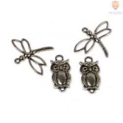 Kovinski dodatki za nakit - sova in kačji pastir