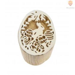 Lesena štampiljka Velikonočni zajček s pirhi 6x4cm 1 kos