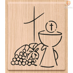 Lesena štampiljka Kelih, kruh in vino 1 kos