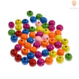 Perle lesene okrogle mešane barve 6-16 mm, 30 g