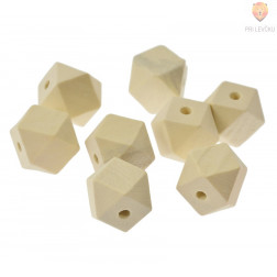 Perle večkotne lesene, 20 x 20 x 18 mm, 8 kos