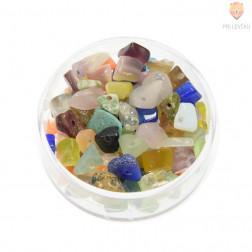 Perle poldragi kamni - lomljenci prosojni in neprosojni barvani, miks, 18 g