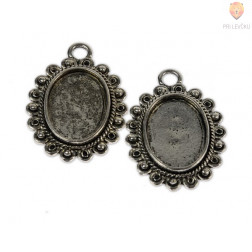 Ovalni medaljon filigranski 20 x 25 mm, 2 kos