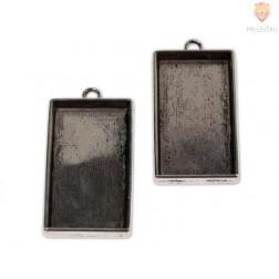 Pravokotni medaljon 21 x 40 mm, 2 kos