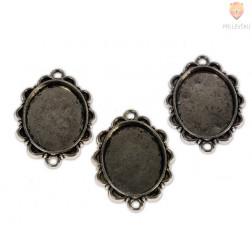 Ovalni medaljon 20 x 25 mm, 3 kos