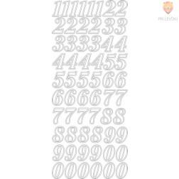 Nalepke številke, srebrne, 1 pola