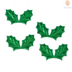 Novoletni okraski, listki zeleni, 4 kos