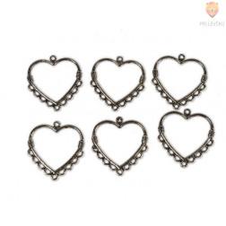 Obešanke za uhane in ogrlice- srčki, 6 kos