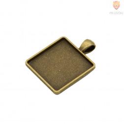 Kvadratni medaljon 25x25mm barva starega zlata 1 kos