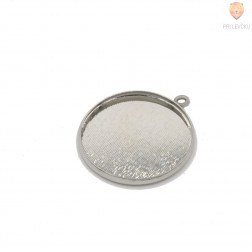 Okrogel medaljon 25 mm, platinaste barve, 1 kos