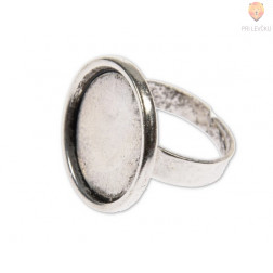 Okrogla osnova za prstan 20 mm, platinaste barve, 1 kos