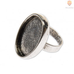 Ovalna osnova za prstan, platinaste barve, 1 kos