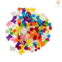 Akrilne perle miks barv in oblik, 40 g