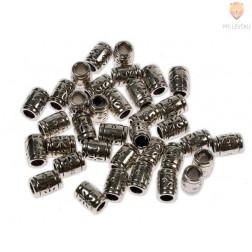 Perle kovinske valjčki z vzorcem, 36 kos