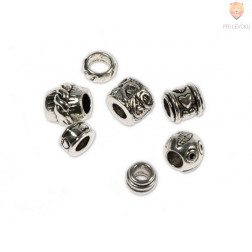 Perle kovinske z veliko luknjo mix, 7 kos