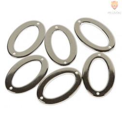 Plastični členi kovinski izgled OVAL 3,5x5,5cm 6 kosov