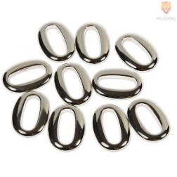 Plastični členi kovinski izgled OVAL 2,3x3,4cm 10 kosov