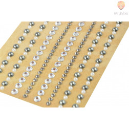 Samolepilne perle - kamenčki bela srebrna 212 kosov