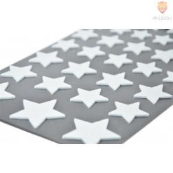 Moos gumi nalepke z bleščicami Zvezdice bele 33 kosov