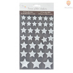 Moos gumi nalepke z bleščicami Zvezdice srebrne 33 kosov