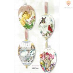 "Skrčljiva folija za velikonočno dekoracijo jajc - ""Piščanki, ptički, zajčki,"" 4 kosi"