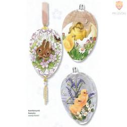 Skrčljiva folija za velikonočno dekoracijo jajc - piščančki zajčki 3 kosi