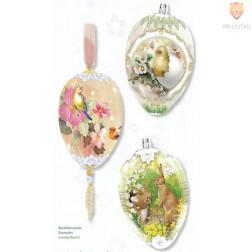 Skrčljiva folija za velikonočno dekoracijo jajc - ptički 3 kosi