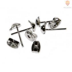 Uhan z bunkico in luknjo, srebrn 4 mm, 4 kos