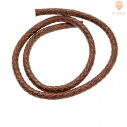 Usnjena vrvica, pletena okrogla, 6 mm x 0,5 m