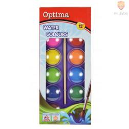 Vodene barve Optima 12 barv + čopič