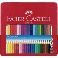 Akvarelne barvice Faber-Castell Grip v kovinski škatli 24 kosov