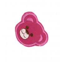 Našitek samolepilni - Medvedek ciklamni 4 cm x 4,5 cm