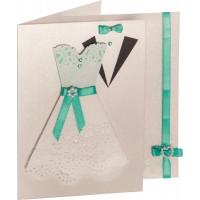 Set voščilnic in kuvert biserni karton bež barve 10,5x15cm 5 kosov