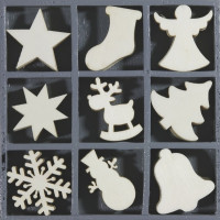 """Leseni okraski v škatlici """"Božič"""" 45 kosov"""