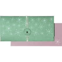 Darilna kuverta Snežinke zelene 23x11cm