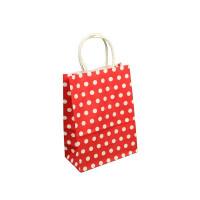 Papirnata darilna vrečka 15 x 21 x 7,5 cm, rdeča s pikami