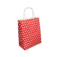 Papirnata darilna vrečka 20 x 26 x 10 cm, rdeča s pikami