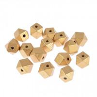 Perle večkotne lesene metalne barve 15x15x15mm 15 kosov